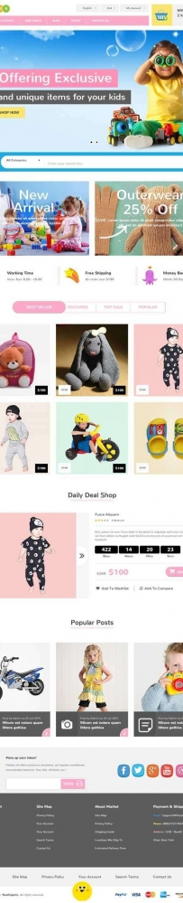 卡通风格的母婴儿童玩具商城网站模板