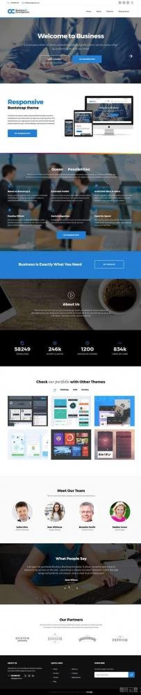 蓝色的商业咨询解决方案公司网站模板