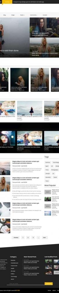 黑色通用的新闻资讯图片博客网站模板