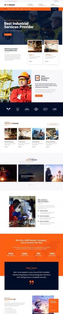 橙色的建筑工程企业Bootstrap网站模板