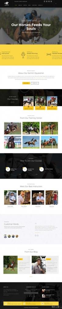 黑色响应式的骑马马术俱乐部网站模板