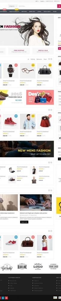 红色的时尚服装包包商城网站html模板