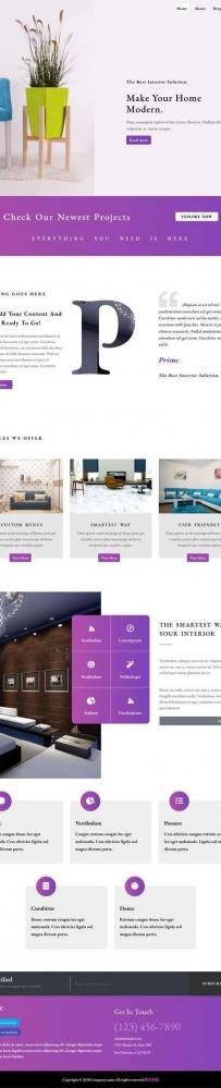 紫色的家居装饰公司网站html模板