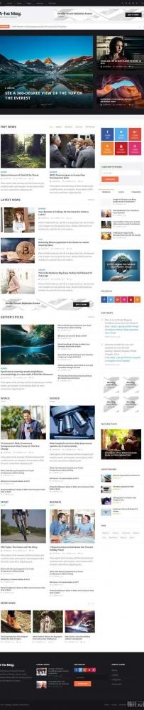黑色的新闻资讯图片博客网站响应式模板