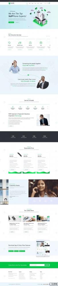 绿色的网络手机通讯服务官网Bootstrap模板