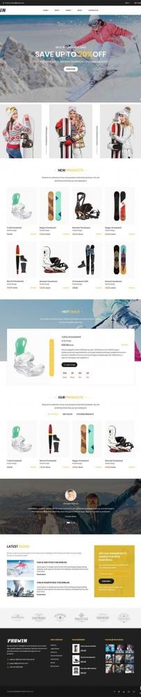 滑雪运动装备电商网站bootstrap模板