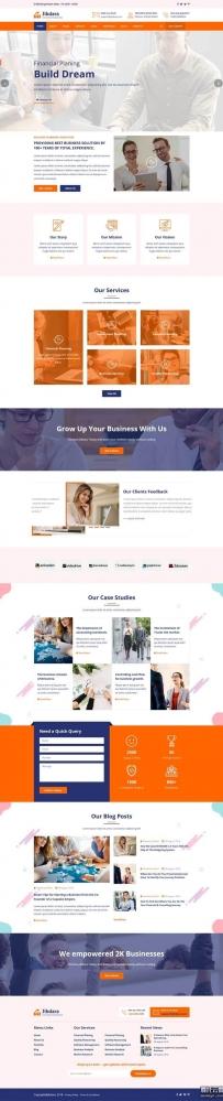 橙色的商业咨询公司Bootstrap网页模板