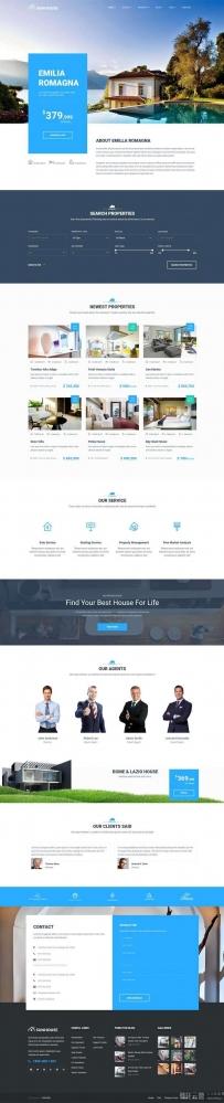 蓝色大气的房地产楼盘销售平台网站模板