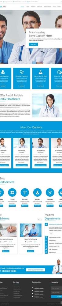 蓝色bootstrap医院医疗服务网站模板
