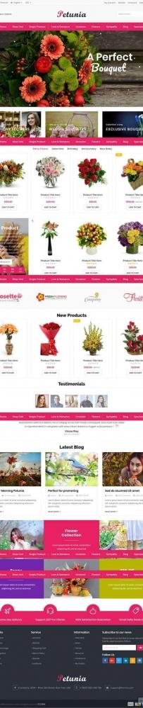 红色的网上鲜花商城网站html5模板