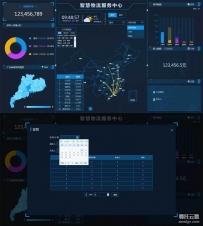 物流快递大数据可视化图表页面模板