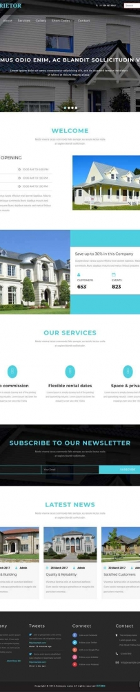 宽屏的别墅房产出租网站模板
