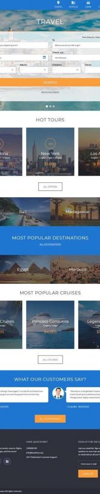 蓝色国外的旅游酒店机票一站式服务网站模板