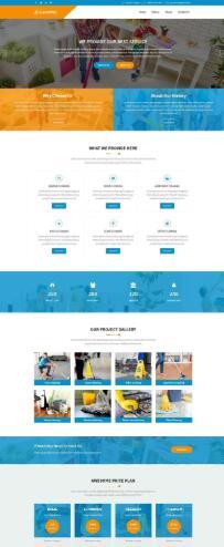 蓝色宽屏的保洁清洗服务公司网站模板