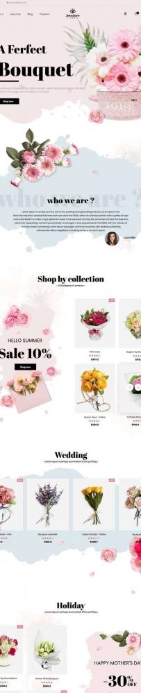 粉色的网上鲜花店在线预订商城html5模板