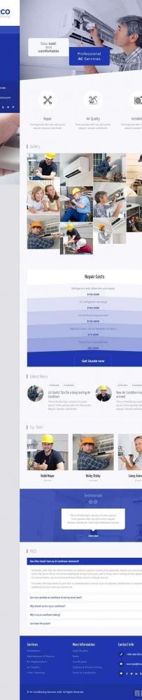 蓝色的空调安装维修服务公司网站模板