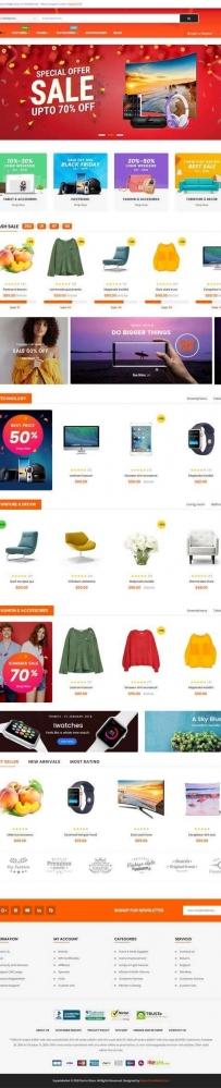 橙色宽屏的网上超市生活购物商城网站模板