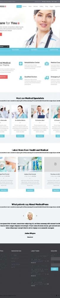 蓝色的健康医疗服务网站html模板