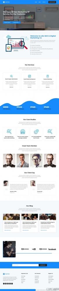 蓝色的SEO优化网络公司网站模板