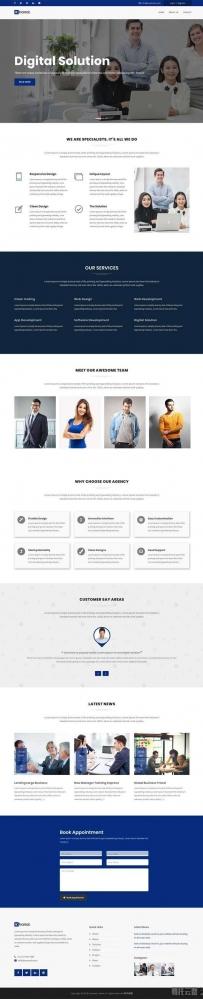 蓝色宽屏的数字解决方案公司网站模板
