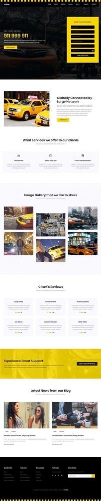 黄色的出租车服务公司网站模板