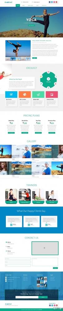 大气的瑜伽健身课程网页模板
