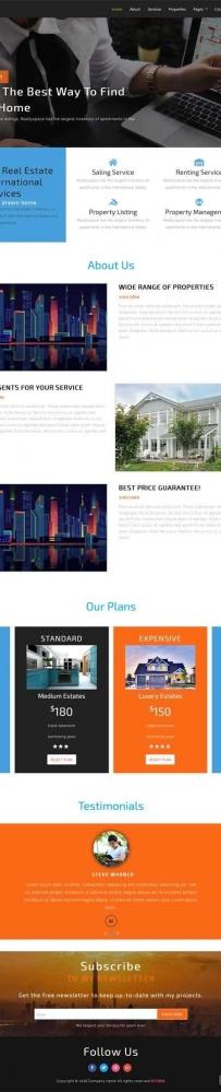 宽屏的二手房屋出租服务公司网站模板