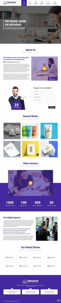 紫色大气的平面设计企业网站HTML5模板