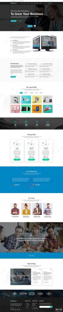 黑色宽屏的互联网商业服务公司网站Bootstrap模板
