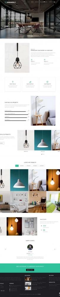 宽屏的室内家居灯饰公司网站模板