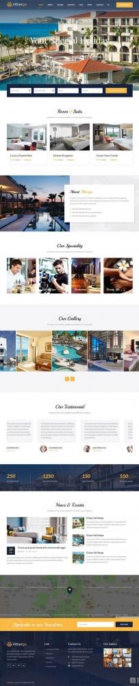 大气的在线酒店预订Bootstrap网页模板