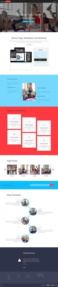 宽屏的瑜伽健身俱乐部网站模板