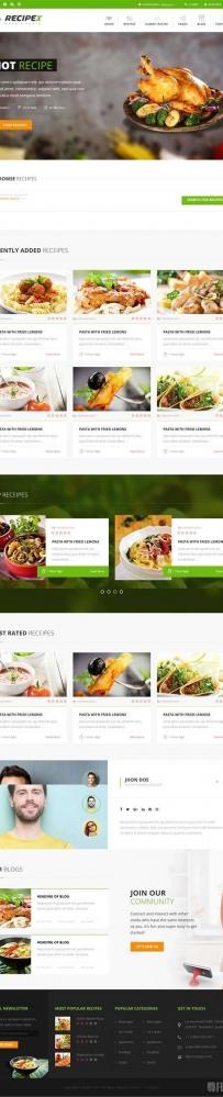 html5绿色的餐饮美食交流平台网站响应式模板