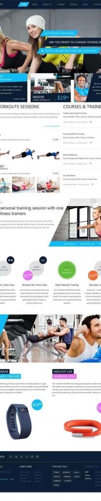 蓝色Bootstrap健身房私教课程网站模板