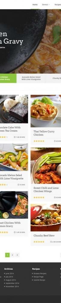 绿色的美食菜谱交流平台网页模板