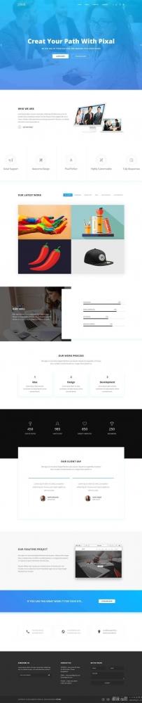 蓝色宽屏的平面广告设计公司网页模板