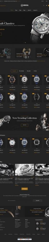 黑色Bootstrap奢侈品手表商城网站模板